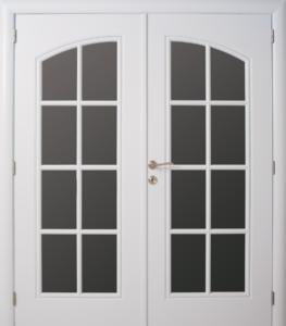 Dubbele deur, boog naar mekaar toe met 8-verdeling glaskader tot onder met 8-verdeling glaskader tot onder