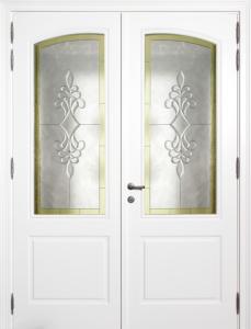 Rm3 dubbele deur met kunstglasraam bogen naar mekaar toeziend